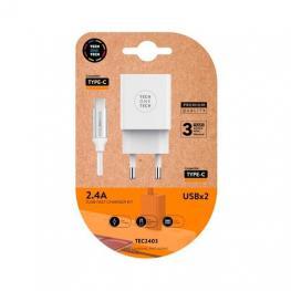 Cargador Doble + Cable Usb(C) Tech One Tech 1M Blanco