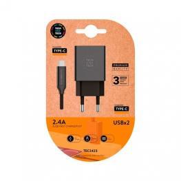 Cargador Doble + Cable Usb(C) Tech One Tech 1M Negro