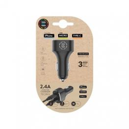 Cargador Doble Mechero Coche Tech One Tech Negro