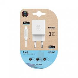 Cargador Doble+Cable Micro Usb(Apple)Tech One Tech