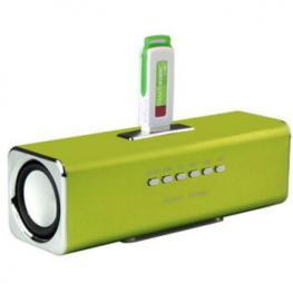 Altavoces Stereo Mp3 Cube2 Verde + Cargador 400Ma