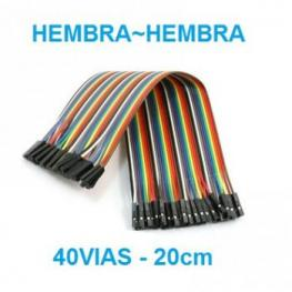 Arduino - Cable Dupont 40 Vias 20Cm Hembra-Hembra