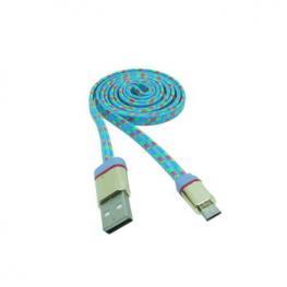 Cable Datos Carga Usb A Micro Usb 1M Nylon Celeste