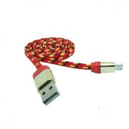 Cable Datos Carga Usb A Micro Usb 1M Nylon Rojo