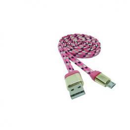 Cable Datos Carga Usb A Micro Usb 1M Nylon Rosa-O