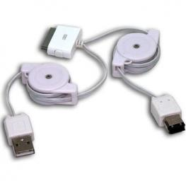 Cable Ipod Iphone Dual Usb2 / Firewire Retractil
