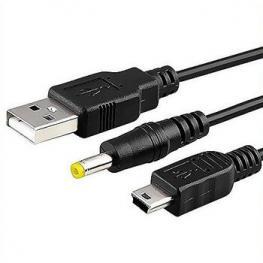 Cable Retractil 2 En 1: Cargador y Link Psp A Pc