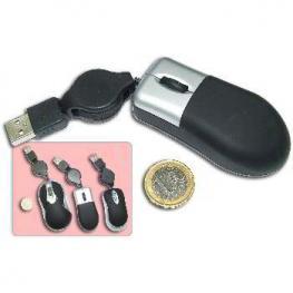 Raton Usb Micro Negro Cable Retractil