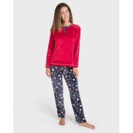 Massana Pijama Mujer M/l P/l P701204 Rojo Terciopelo T.L/g