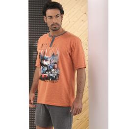 Massana Pijama Hombre P181308 M/c P/c Algodón  C. Naranja T.S