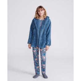 Promise Pijama Mujer 3Piezas Peludo Modal N06213 Ros/azul T.L/g