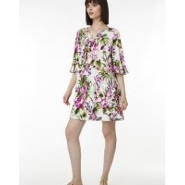 Belty Vestido M/francesa 19V-1039-74 C.Bl/flores T.M