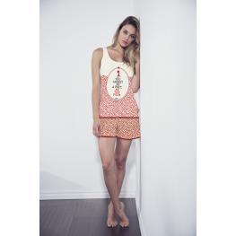 Admas Pijama Mujer P/c M/c 50360 Rojo/beig T.L/g