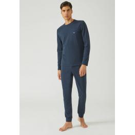 Emporio Armani Pijama Hombre P/c M/c 111339 7P576 10734 Cotton Azul T.L/g
