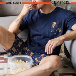 Admas Pijama Hombre M/c Caja/palomitas 50691 Marino T.L