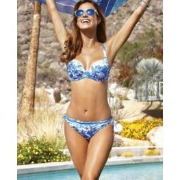 Lidea Baño Bikini 2 Piezas C/foam/aros/capacidad +Braga 7160 T.40/38 Dess.380 C.798/azul Estamp. T.4
