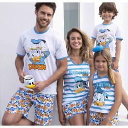Disney Pijama Hombre Verano P/c M/c Pato Donald 54220-0 Azul T.Xl