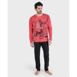 Massana Pijama Hombre M/l P/l Alg. P691308 Rojo T.Xl