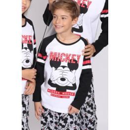 Disney Pijama Niño  M/l Mickey  54244  Negro/blanco T.10