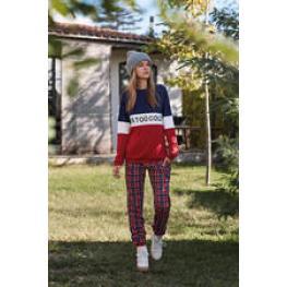 Promise Pijama Mujer P/l M/l Interlock N8592 Rj/az/cuad T.36/s/p