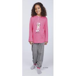 Rachas Pijama Niña M/l 18555  Estamp/gris T.10