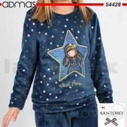 Santoro  Pijama 54428-0  Pelo M/l Azul/estrellas  T.4