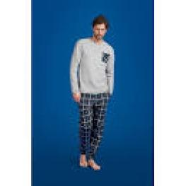 Philippe Matignon Pijama Hombre Set Invierno Escoces A013158Pm 1301 Gris T.L/g
