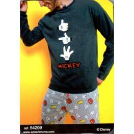 Disney Pijama Hombre P/l M/l 54209-0 Marengo Jaspe Manos T.L/g