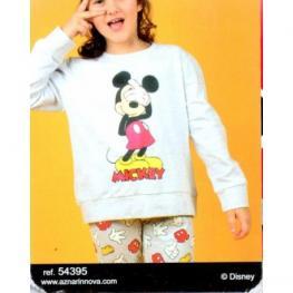Disney Pijama Niña P/l M/l 54395-0 Gris Jaspe/mickey T.10