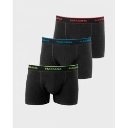 Massana Boxer Pack 3 Up37346  Algodón Gris/cintur.Color  T.M
