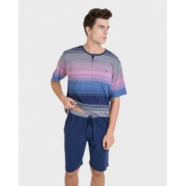 Massana Pijama  Hombre M/c P201324  100% Algodón Marino T.Xl