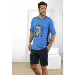 Massana Homewear Pijama Hombre P171321 Manga Corta Pantalón Corto Azul T. L
