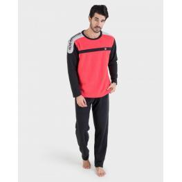 Massana Pijama Hombre Abrigado P/l M/l P691314  Rojo/ng T.L/g
