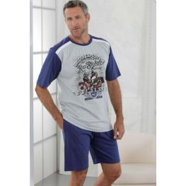 Massana Homewear Pijama Hombre P171332 Manga Corta Pantalón Corto Gris  T. L