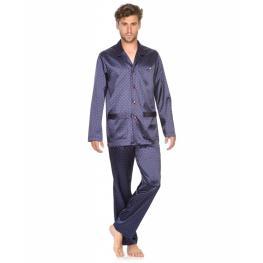 Lohe Pijama Hombre Raso  M/l Abierto X205101 C.Azul/estamp. T.M
