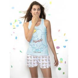 Disney Pijama Verano Mujer Dumbo 50890-0 Azul T.L/g