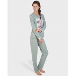 Massana Homewear Pijama Mujer P171252 Manga Larga Pantalón Largo Vigore Gris T. Xxl