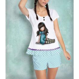 Santoro Pijama Verano Mujer P/c M/c 50969-0 Blan/az T.Xs