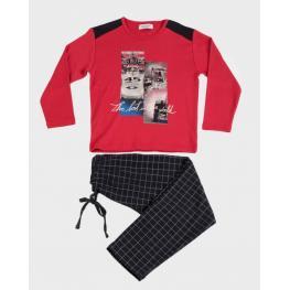 Massana Pijama Niño P/l M/l P691135 Algodon Rojo T.10