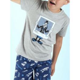 Disney Pijama Niño M/c 50539 Goofy Gris T.6