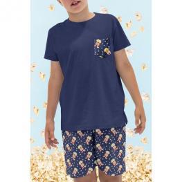 Admas Pijama Niño M/c Caja/palomitas 50690 Marino  T.12