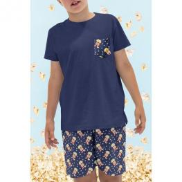 Admas Pijama Niño M/c Caja/palomitas 50690 Marino  T.8