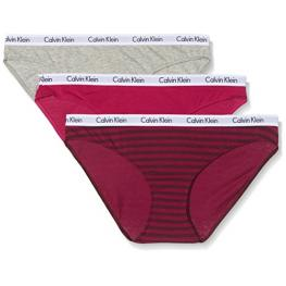 Calvin Klein Bikini Pack de 3 Qd3588E-Krb Rosa/gris/rallas T.S