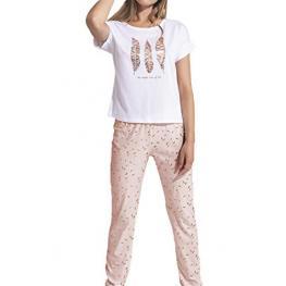 Admas Pijama Mujer M/c P/l 50940 Blan/plumas T.Xl