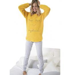 Aznar Innova Pijama Mujer P/l M/l Polar 54145-0 Amarillo T.L/g