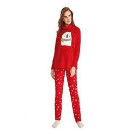 Promise Pijama Mujer P/l M/l Peludo N08672 Rojo T.48/xl