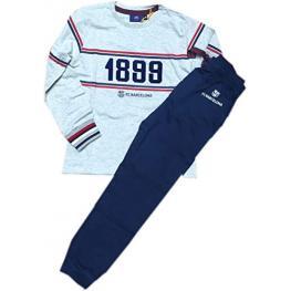 Aznar Innova Pijama Hombre  Invierno Fc Barcelona 54909-0 Gris Jaspe  T.Md