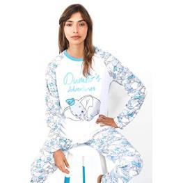 Disney Pijama Mujer P/l M/l Dumbo 54300-0 Blanco/azul T.S/p