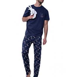 Antonio Miro Pijama Hombre P/l M/c 54621-0 Marino T.L/g