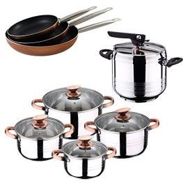 Set de Olla A Presion 7 L Sip Duna + Bateria Cocina 8 Piezas Sip + Set 3 Sartenes Professional Chef Copper 20/24/28